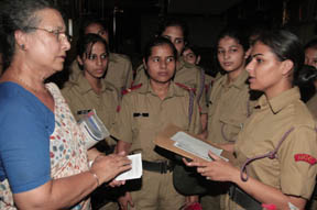 NCC Cadets at cancer awareness workshop at sector-26, Chandigarh on Wednesday.