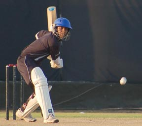 A Sri Lanka batsman playing a shot against Indian Navy in the Jannayak Ch Devi Lal International Twenty20 Cricket Tournament being played at the JCD National Cricket Academy Stadium in Sirsa on Thursday.