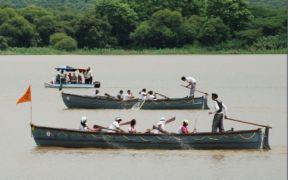 The NCC organised a pre Nau Sainik Camp pulling competition at Sukhna Lake