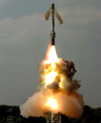 DRDO successfully test fired canister-launched surface-to-surface missile 'Shourya' from ITR Balasore, Orissa on November 12, 2008.
