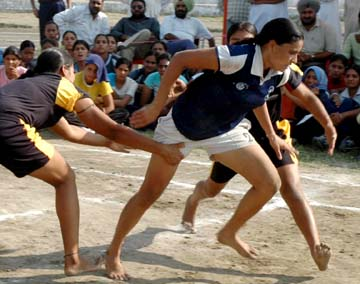 khokho matches in progress in the Punjab State Games for Women in Bathinda on Sunday.
