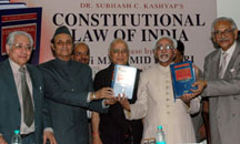 "The Vice President, Shri Mohd. Hamid Ansari releasing the book titled ""Constitutional Law of India"", written by Dr. Subhash C. Kashyap, in New Delhi on July 14, 2008."