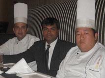 Team Leaders Of TAO Restaurant, L-R Head Chef Vishal, GM Santosh Sreedhar, Corporate Chef LeNOM - Photo By : Barinder Saluja