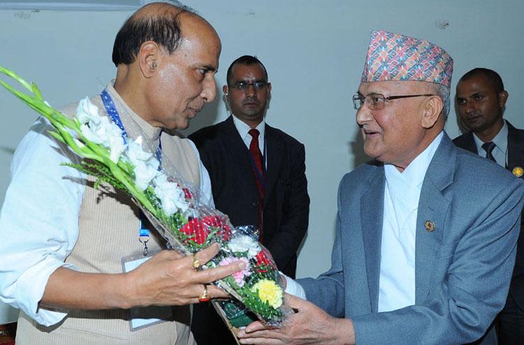 The Union Home Minister, Shri Rajnath Singh meeting the Chairman of Communist Party of Nepal, Shri Khadga Prasad Oli (KP Oli), in Kathmandu