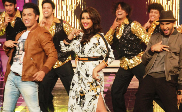Ali Zafar, Parineeti Chopra, and Ranveer Singh during the promotions for Kill Dil on Bigg Boss.