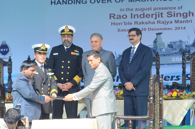"""The Minister of State for Planning (Independent Charge) and Defence, Shri Rao Inderjit Singh at the handing over ceremony of the Mauritius Offshore Patrol Vessel (MOPV) """"Barracuda"""" built by the Garden Reach Ship Builders and Engineers Ltd. (GRSE) to the Government of Mauritius, in Kolkata on December 20, 2014."""