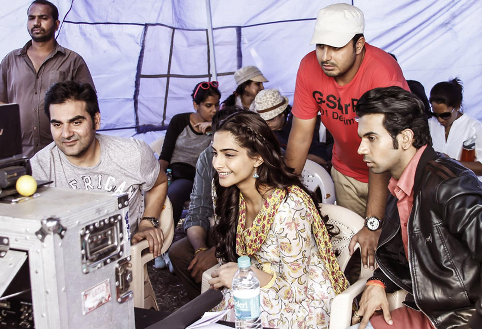 Sonam Kapoor, Arbaaz Khan, Abhishek Dogra and Rajkummar Rao on the sets