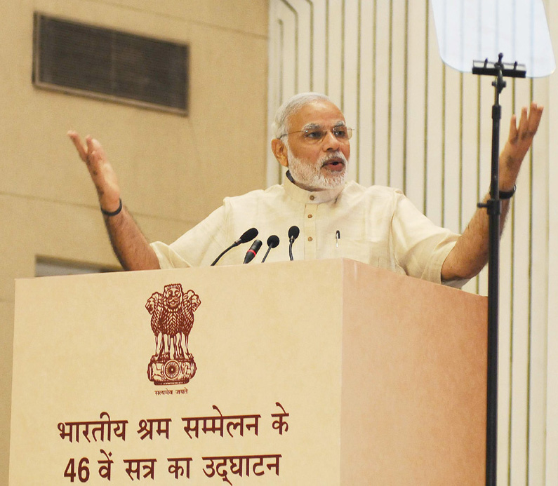 The Prime Minister, Shri Narendra Modi addressing the inaugural ceremony of the 46th session of Indian Labour Conference, in New Delhi on July 20, 2015.