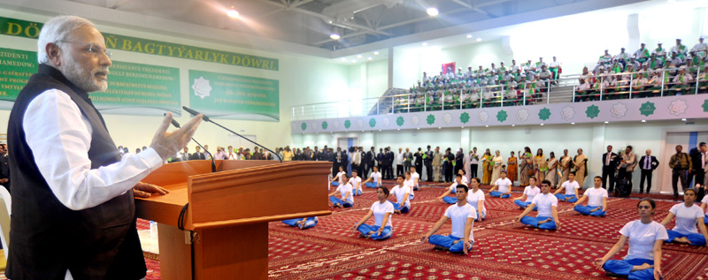 The Prime Minister, Shri Narendra Modi delivering his address at the inauguration of the Traditional Medicine and Yoga Centre, in Ashgabat, Turkmenistan on July 11, 2015.