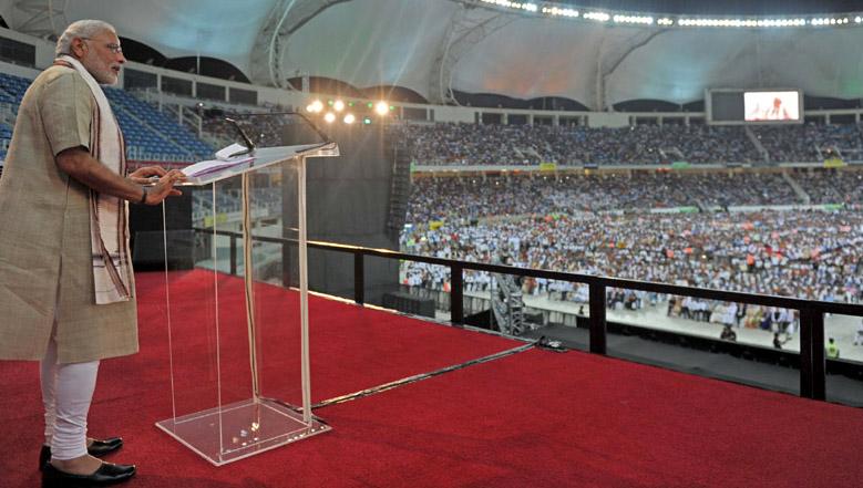 The Prime Minister, Shri Narendra Modi addressing the gathering at the Indian Community Reception, in Dubai Cricket stadium, UAE on August 17, 2015.