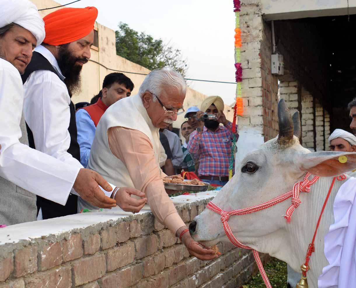 Haryana Chief Minister Mr. Manohar Lal feeding a cow at Shri Krishna Gopal Gaushala, Jundla, Karnal on November 19, 2015. Chief Parliamentary Secretary Mr. Bakhshish Singh Virk is also seen in the picture. Haryana Chief Minister Mr. Manohar Lal laying the foundation stone of Gau Seva Sadan at Shri Krishna Gopal Gaushala, Jundla, Karnal on November 19, 2015. Chief Parliamentary Secretary Mr. Bakhshish Singh Virk is also seen in the picture.