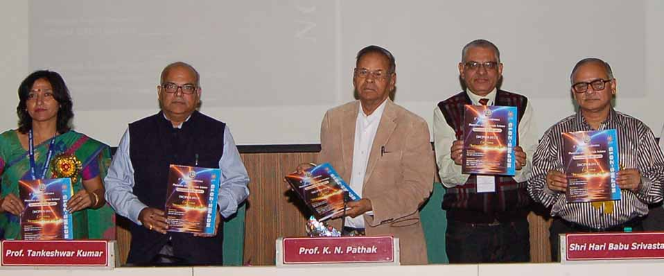 Prof. Tankeshwar Kumar, Vice-Chancellor, Prof. K.N. Pathak and others releasing Abstract of Conference in the inaugural function of the conference started by Department of Applied Physics, Guru Jambheshwar University of Science & Technology, Hisar.