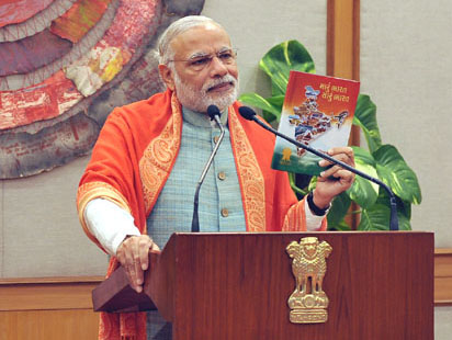 "The Prime Minister, Shri Narendra Modi releasing a book ""MARU BHARAT SARU BHARAT"", written by Jain Acharya Ratnasundersuriswarji through video conference, in New Delhi on January 10, 2016."