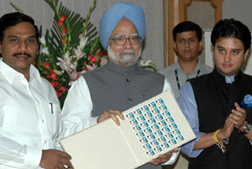 The Prime Minister, Dr. Manmohan Singh releasing a commemorative postage stamp on Shehnai Maestro Ustad Bismillah Khan, in New Delhi on August 21, 2008. The Union Minister for Communications and Information Technology, Shri A. Raja and the Minister of State for Communications & Information Technology, Shri Jyotiraditya Madhavrao Scindia are also seen.