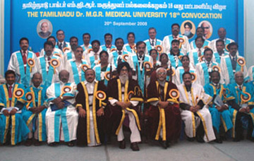 The Vice President, Shri Mohd. Hamid Ansari and the Governor of Tamil Nadu, Shri Surjit Singh Barnala with Governing Council Members, at the 18th Convocation of the Tamil Nadu Dr.MGR Medical University,in Chennai on September 20, 2008