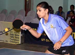 Olympian Neha Aggarwal in action in the All India PSU Table Tennis Tournament in Chandigarh on Wednesday. Photo by Balbir Singh