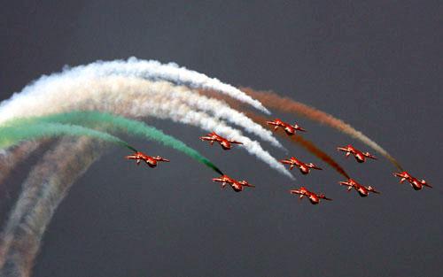 File photo of IAF's Surya Kiran Aerobatic Team (SKAT) which would be performing in China from 04 November to 09 November 08.