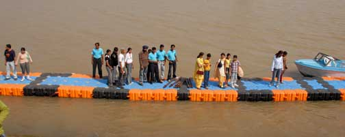Tourist having fun on the newly laid jetties at Sukhna Lake by the CITCO. Photo by Jagdish