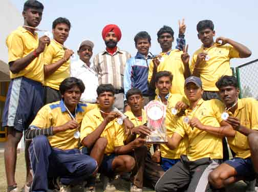 Team members of Pandichery,who won the 2nd position in 2nd junior National Dodgeball championship