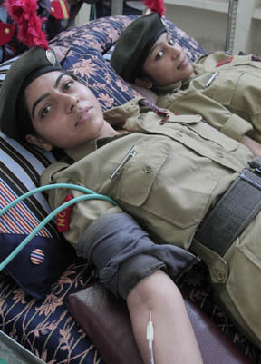 NCC Cadets donating blood at Sector 26 Chandigarh on Tuesday