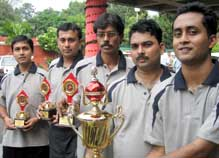 Members of the victorious AG West Bengal team in the IA and AD All-India Inter-Zonal Table Tennis Tournament in Chandigarh on Wednesday.