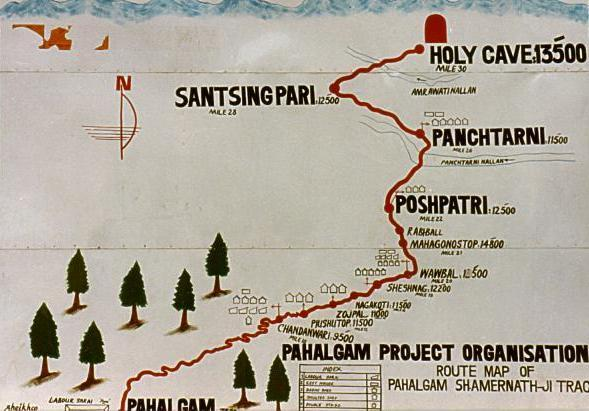 Map routeof Holly cave Amarnath