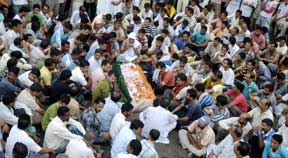 People gathered at the funeral of Sanjeev Singh in Samba  who was one amongst the two who were killed in police firing yestrday.