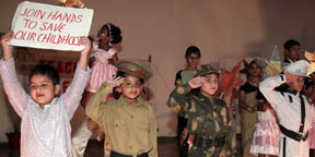 Tiny tots performing during Teachers Day celebration at Chandimandir on Friday