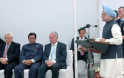 The Prime Minister, Dr. Manmohan Singh addressing at the foundation stone laying ceremony of Palestine Authority Embassy, in New Delhi on October 07, 2008. The President of Palestine, Mr. Mahmoud Abbas is also seen.